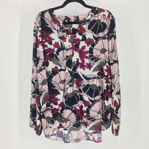 ✨Loft outlet floral flowy blouse top xl pink